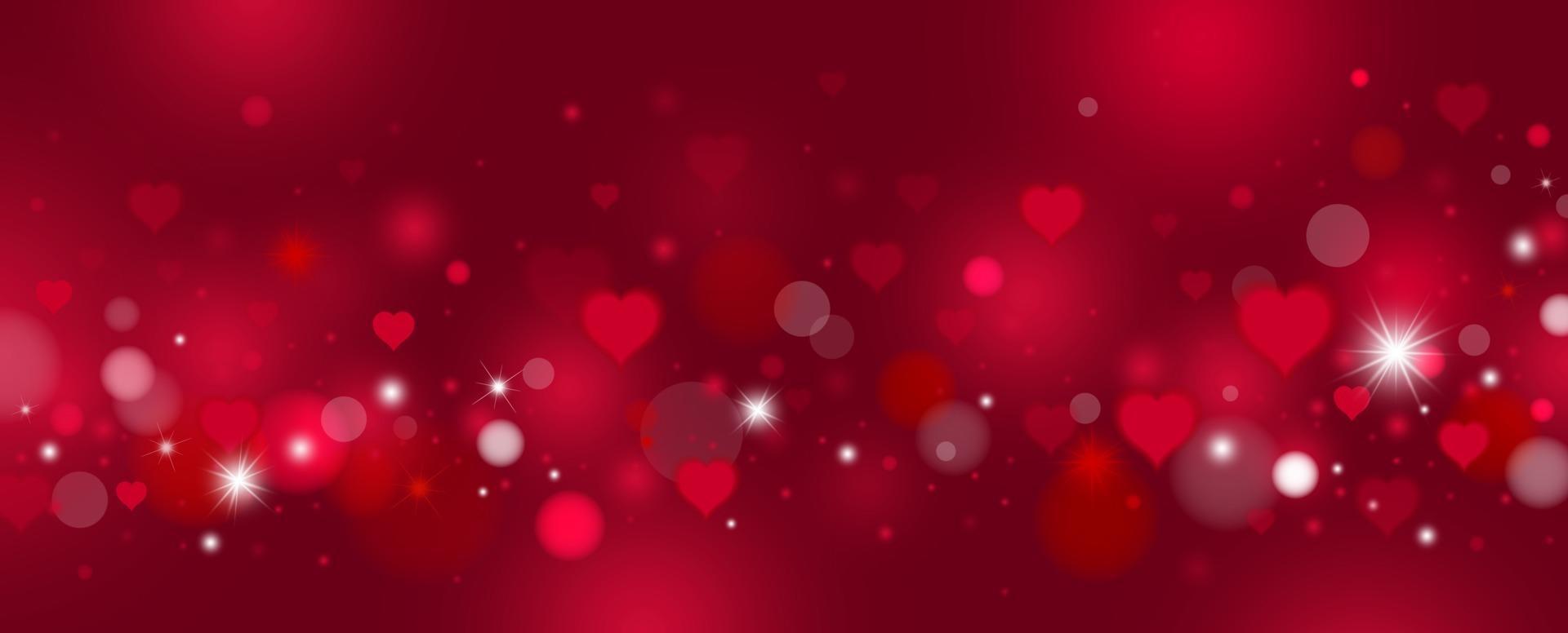 dia dos namorados e desenho de fundo de amor de corações vermelhos e ilustração vetorial de bokeh vetor