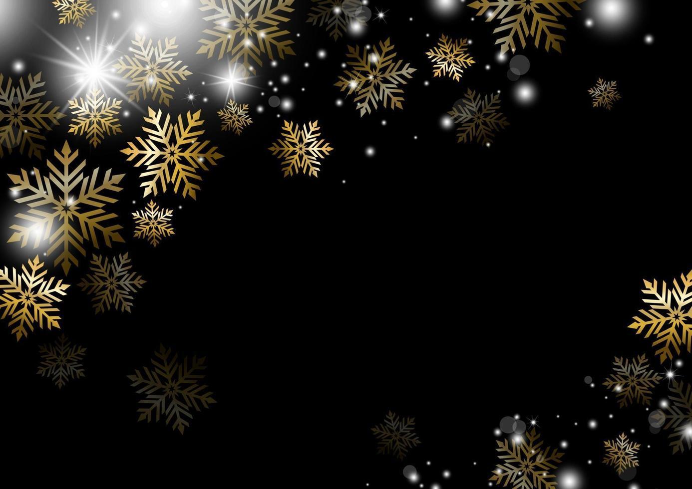 ilustração em vetor inverno floco de neve dourado