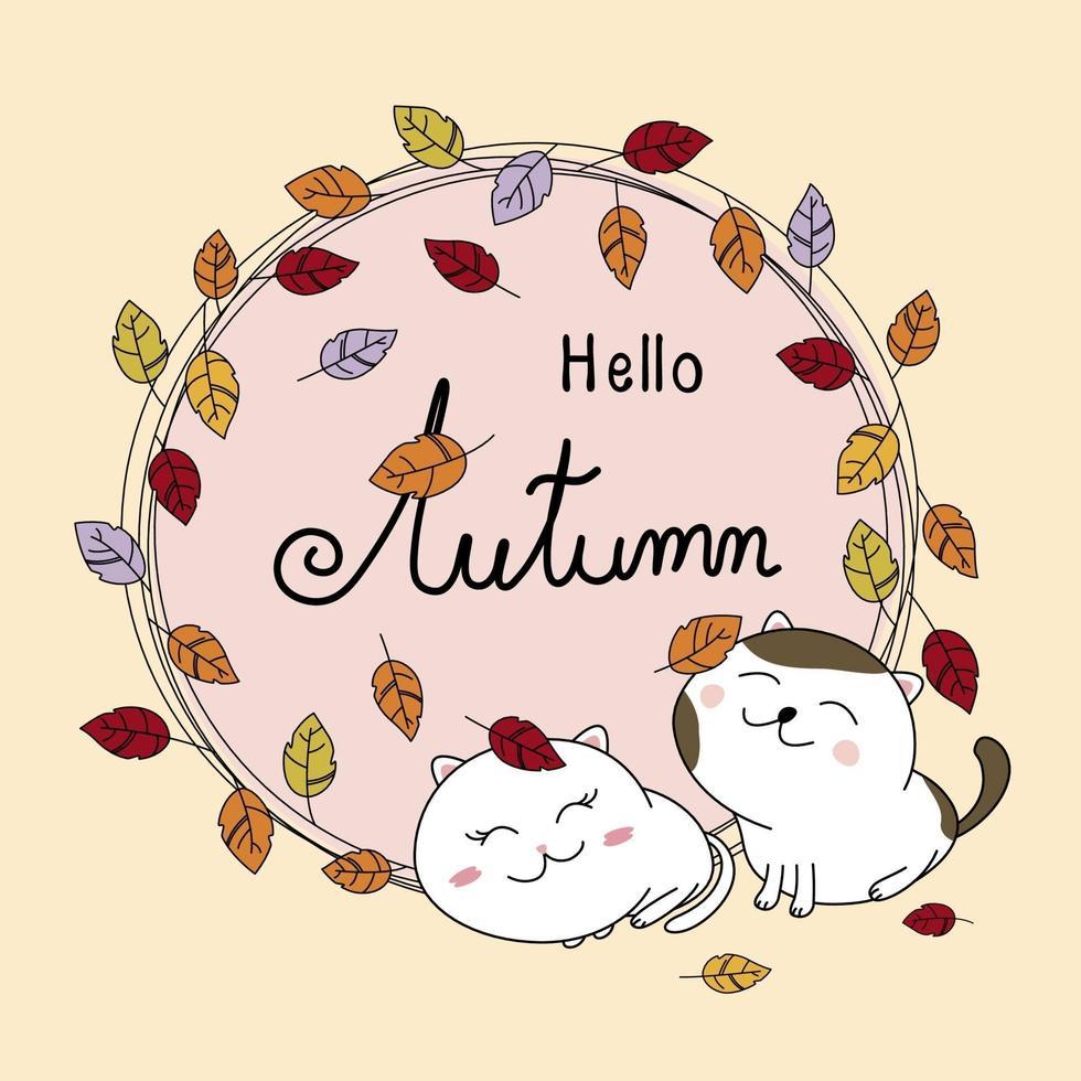 outono cartão design de casal gato e folhas outono ilustração vetorial vetor