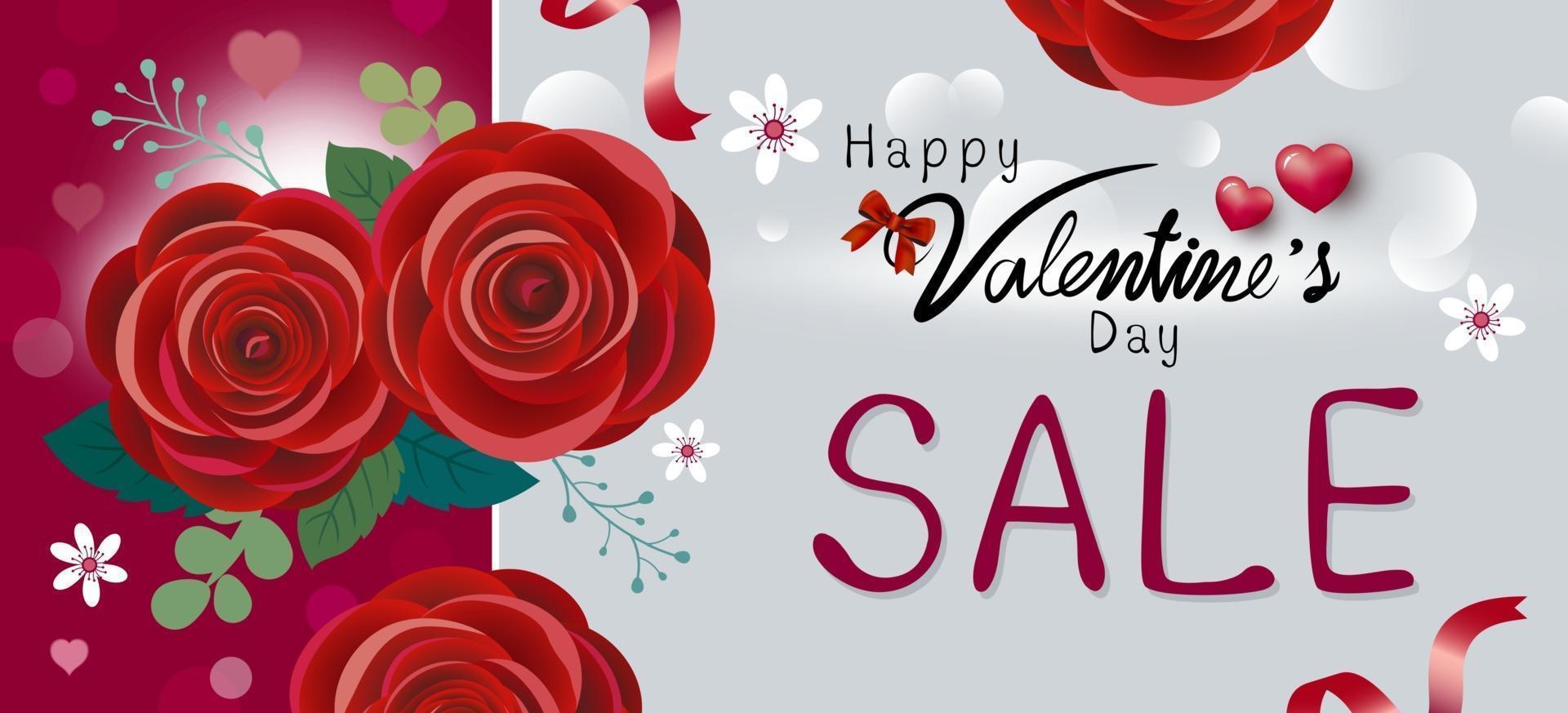 feliz dia dos namorados design de venda de ilustração vetorial de flores rosa vermelha vetor