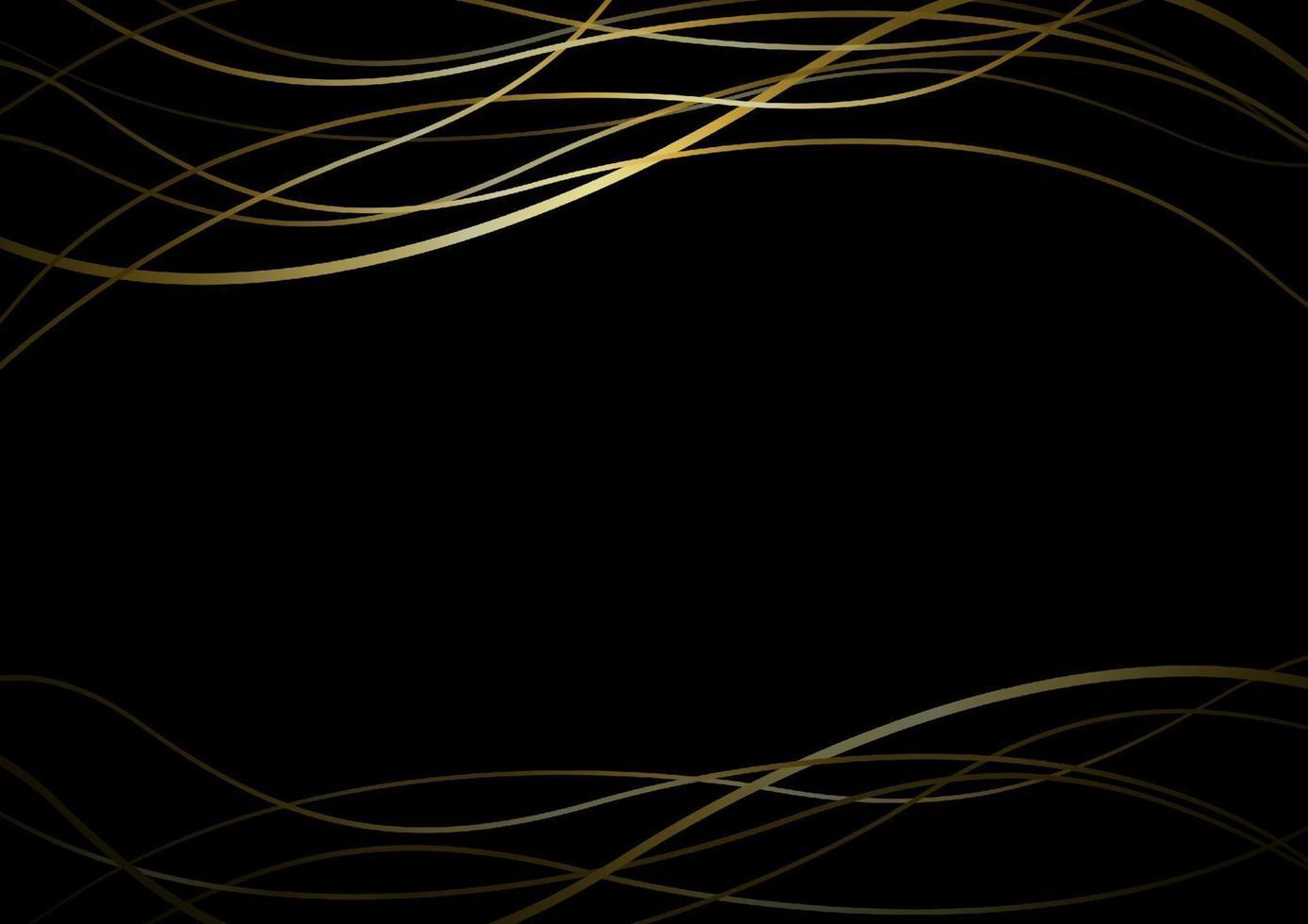 banner de linha de ouro abstrato em ilustração vetorial de fundo preto vetor