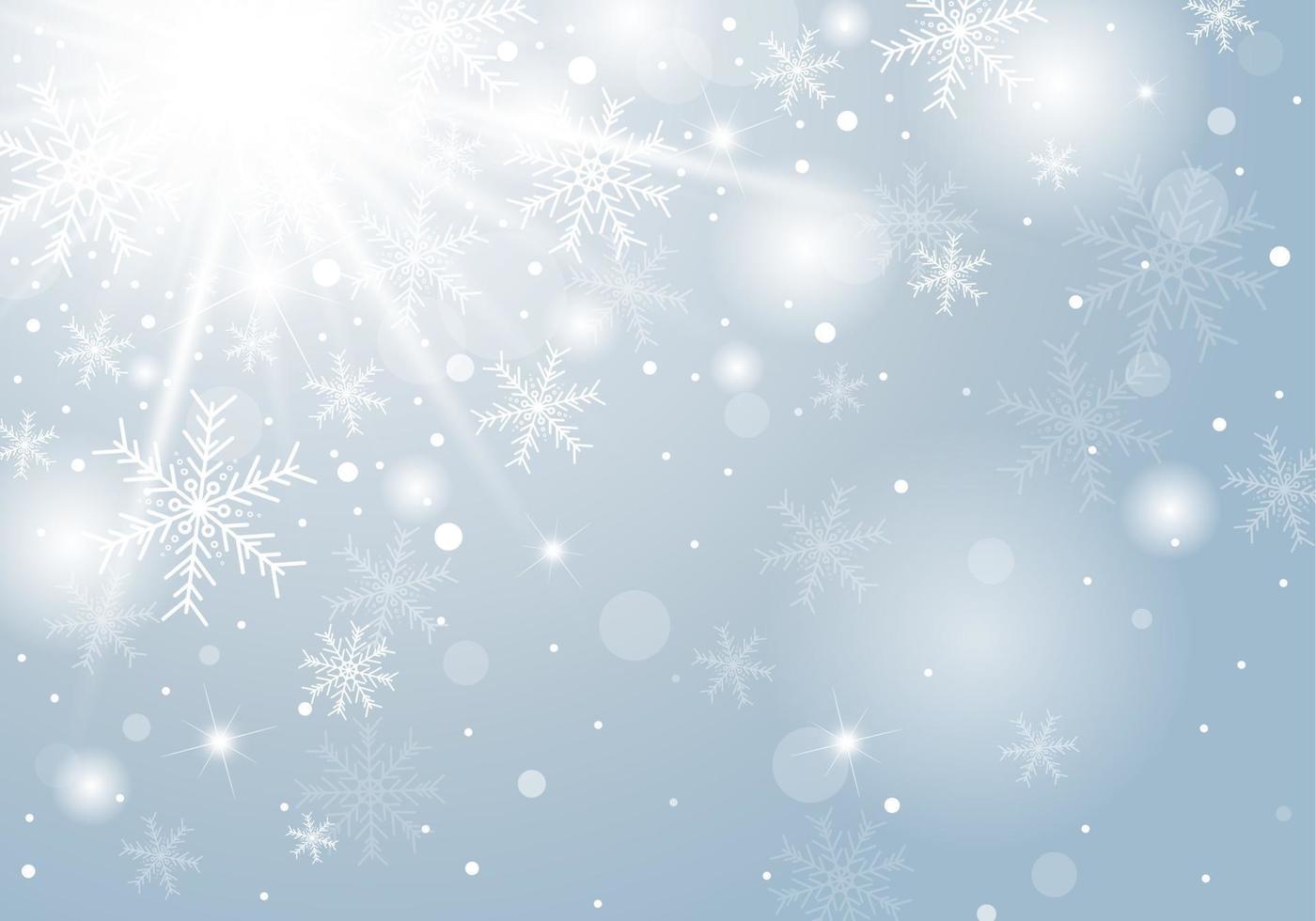 Projeto de conceito de fundo de Natal de floco de neve branco e neve no inverno com ilustração vetorial de cópia espaço vetor
