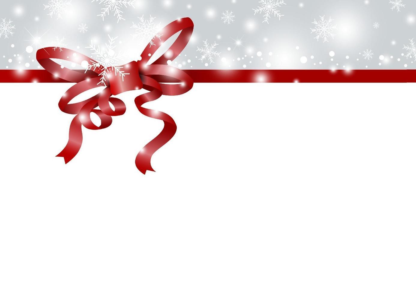desenho de fundo de Natal e ano novo de fita vermelha e floco de neve no inverno com ilustração vetorial de espaço de cópia vetor