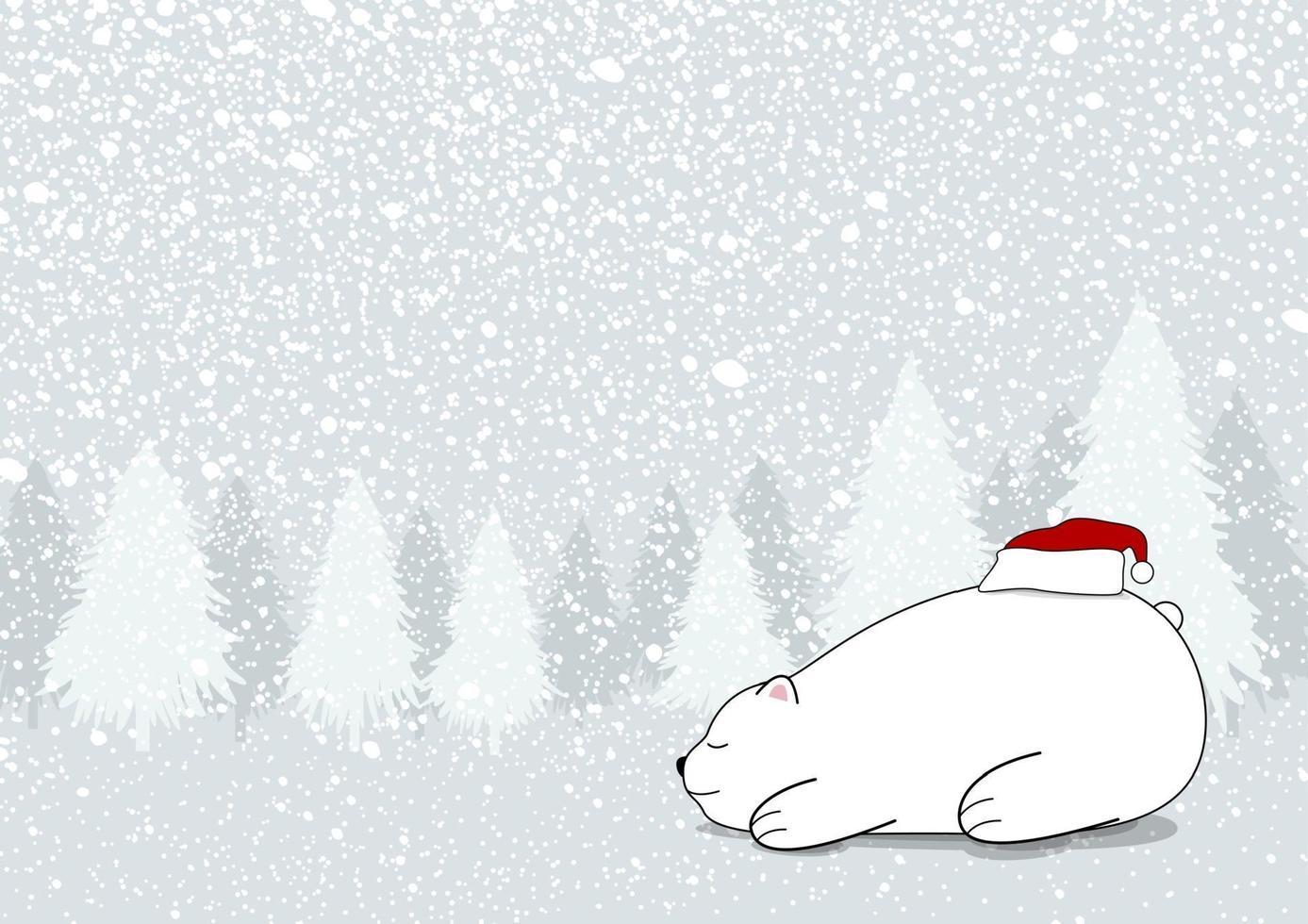 design de cartão de natal de urso branco com chapéu de Papai Noel em ilustração vetorial de inverno vetor