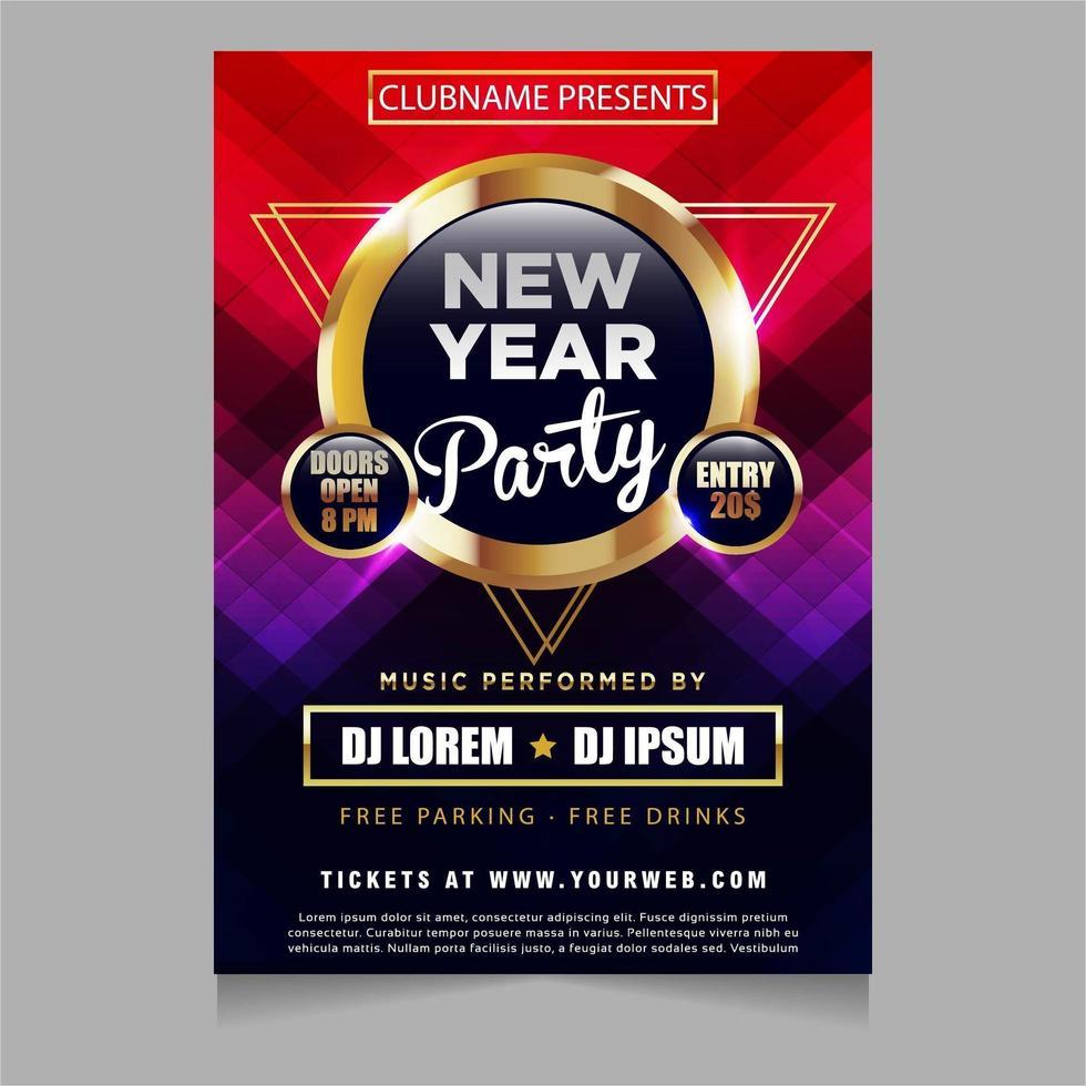 convite de pôster de festa de ano novo com design de temas brilhantes e cintilantes vetor