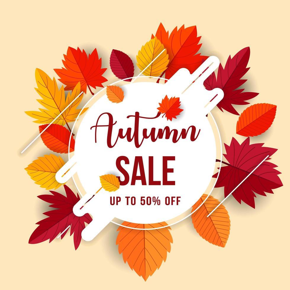 conceito de venda de outono com fundo de folhas planas vetor