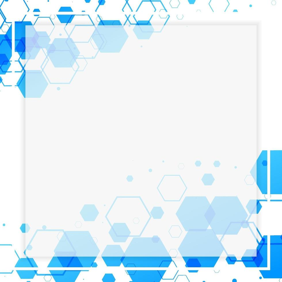 quadro branco abstrato com formas hexagonais azuis vetor
