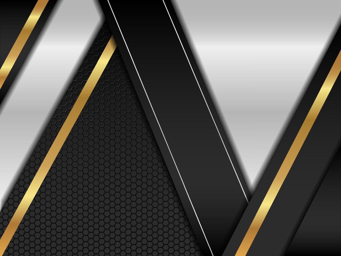 prata abstrata com fundo dourado e preto moderno vetor