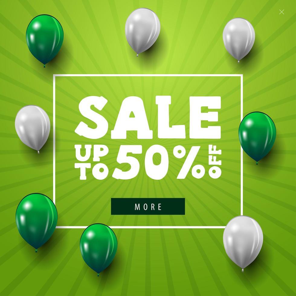 desconto moderno minimalista banner web verde com balões brancos e verdes vetor