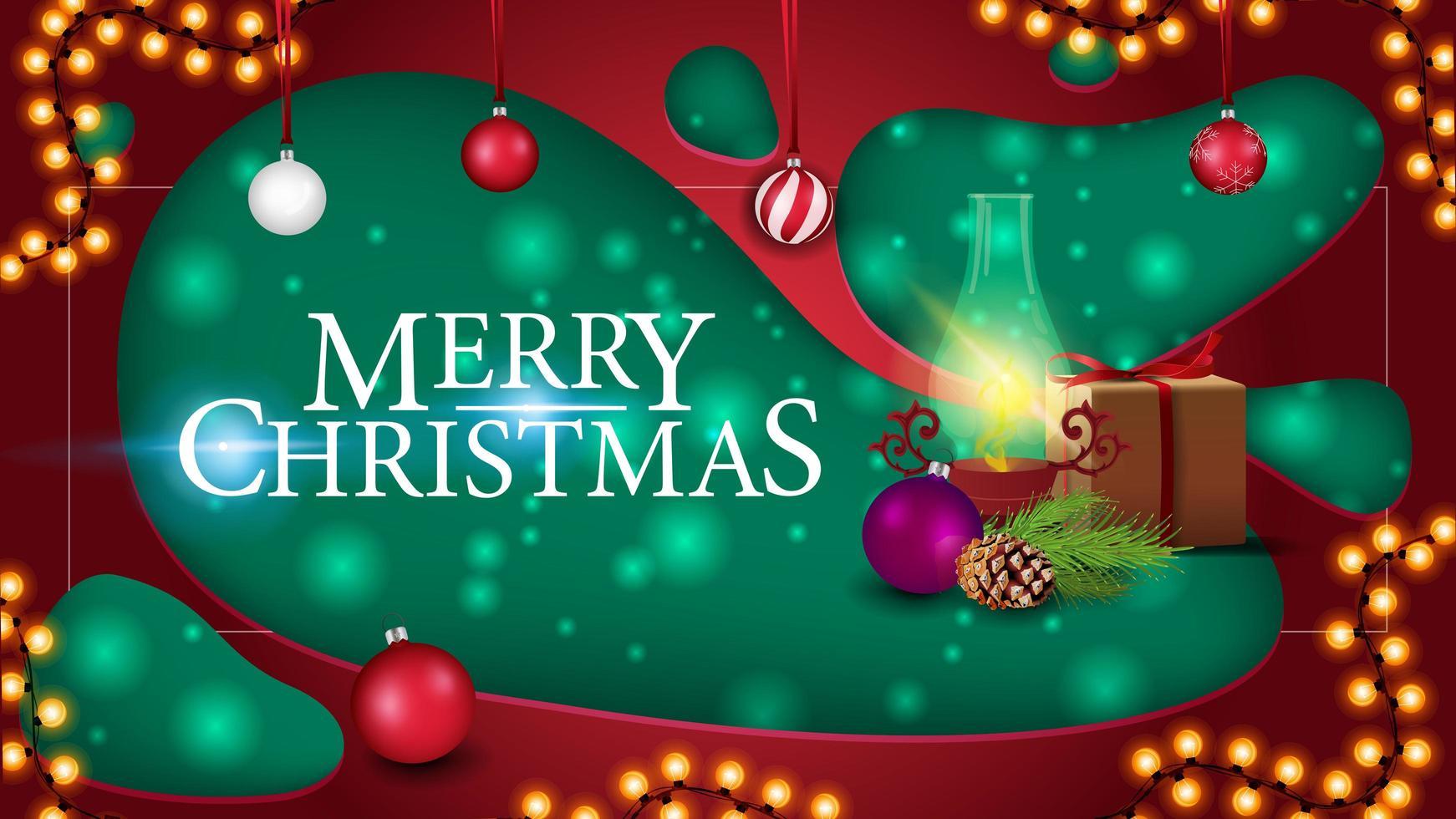 feliz natal, cartão postal em estilo de corte de papel com presente, lâmpada antiga, galho de árvore de natal, cone, bola de natal vetor