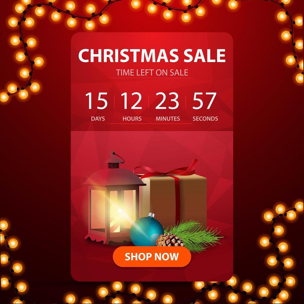 liquidação de natal, banner web vermelho com botão, cronômetro de contagem regressiva para o fim de descontos, presente, lanterna vintage, galho de árvore de natal com um cone e uma bola de natal vetor