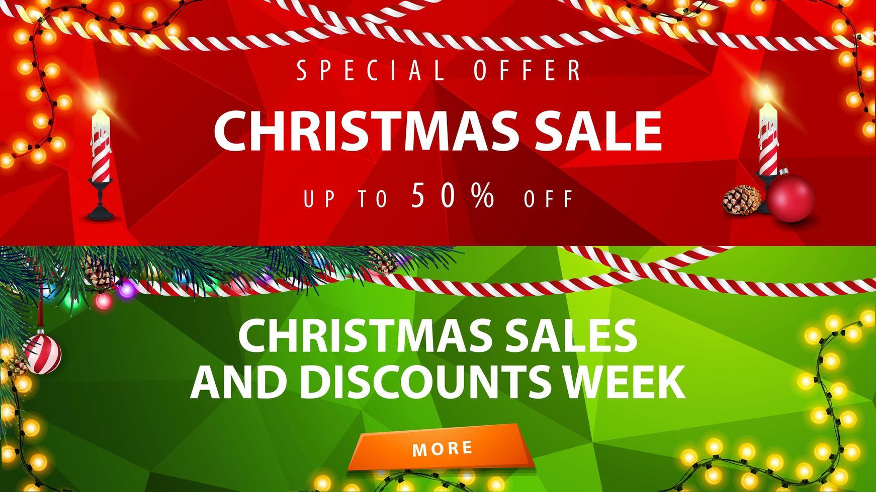banners de desconto de Natal. modelos vermelhos e verdes com decoração de natal vetor