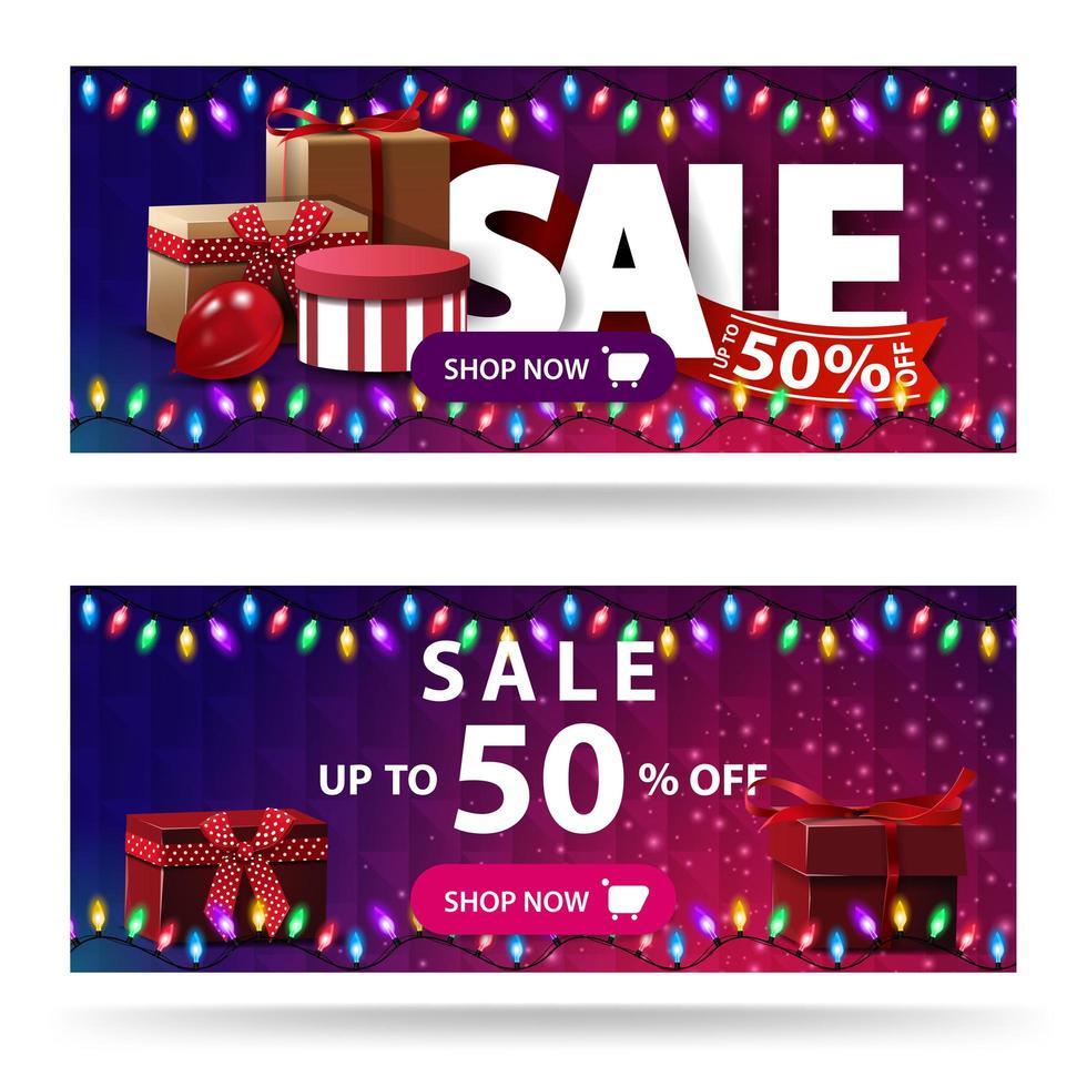 promoção, até 50 de desconto, dois banners roxos de desconto com caixas de presente e textura poligonal vetor
