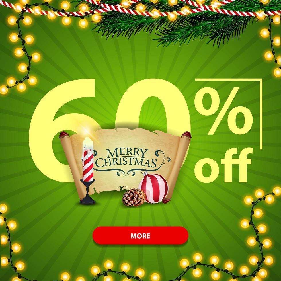 banner de desconto de quadrado de natal verde com vela de natal, pergaminho velho, bola de natal e cone vetor