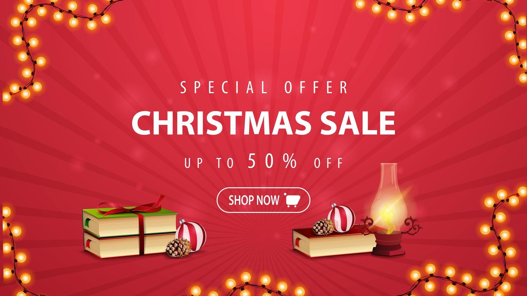 oferta especial, promoção de natal, desconto de até 50, banner vermelho de desconto com lâmpada antiga, livros de natal, bola de natal e cone vetor