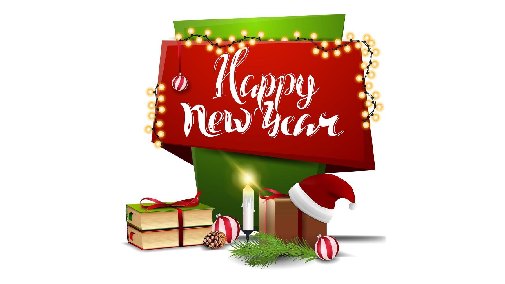 feliz ano novo, banner de saudações vertical vermelho e verde para sua criatividade em estilo cartoon com presentes de natal vetor