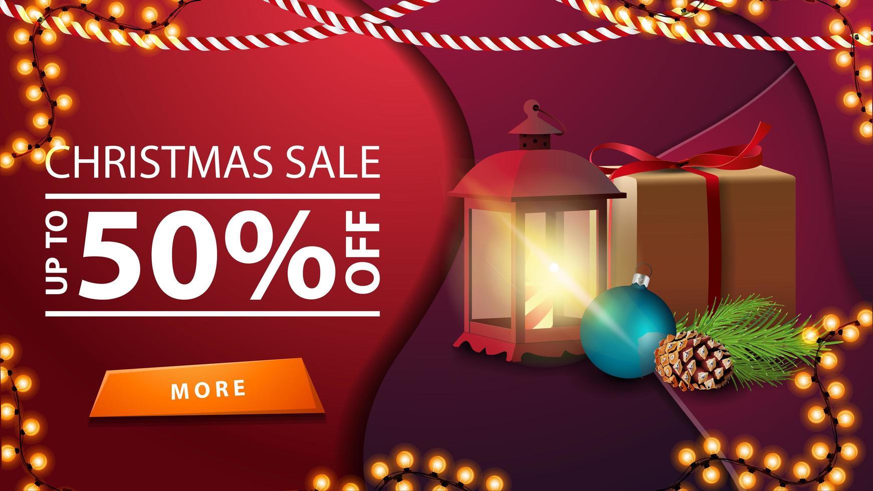 promoção de natal, desconto de até 50, banner roxo em estilo material design com guirlanda, presente, lanterna vintage, galho de árvore de natal com um cone e uma bola de natal vetor