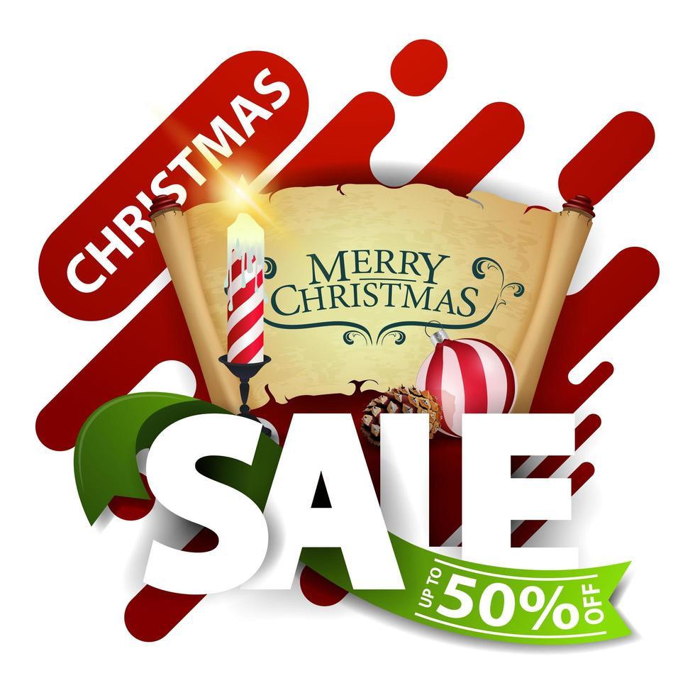 promoção de natal, desconto de até 50, desconto pop-up para site com letras grandes, fita verde, vela de natal, pergaminho velho, bola de natal e cone vetor