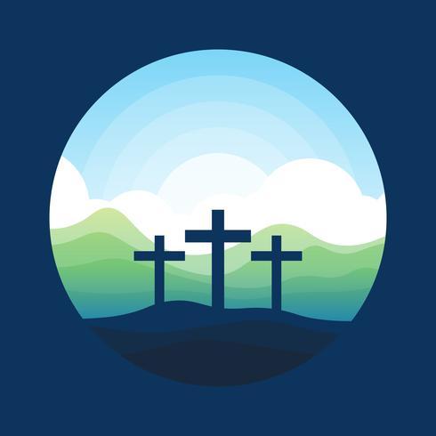 Calvário de montanha com três cruzes vetor