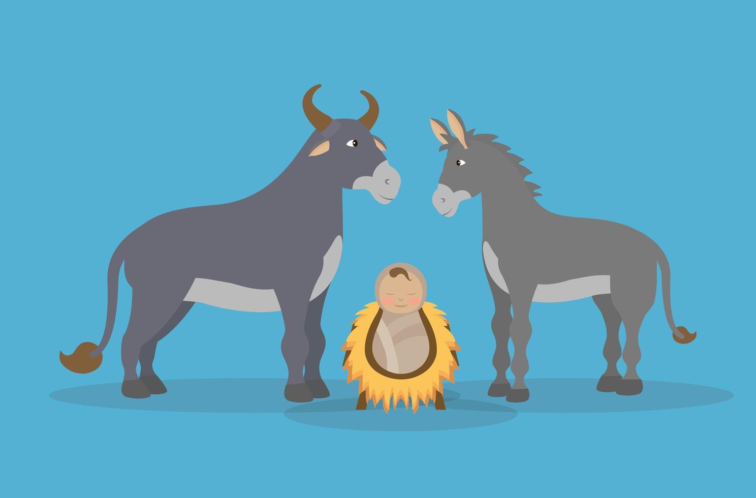 epifania de jesus, animais e bebê cristo vetor