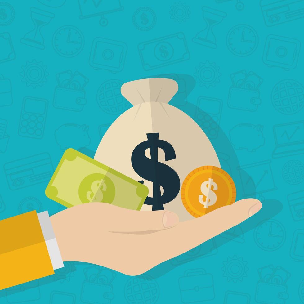 mão com dinheiro, design plano de conceito de finanças vetor