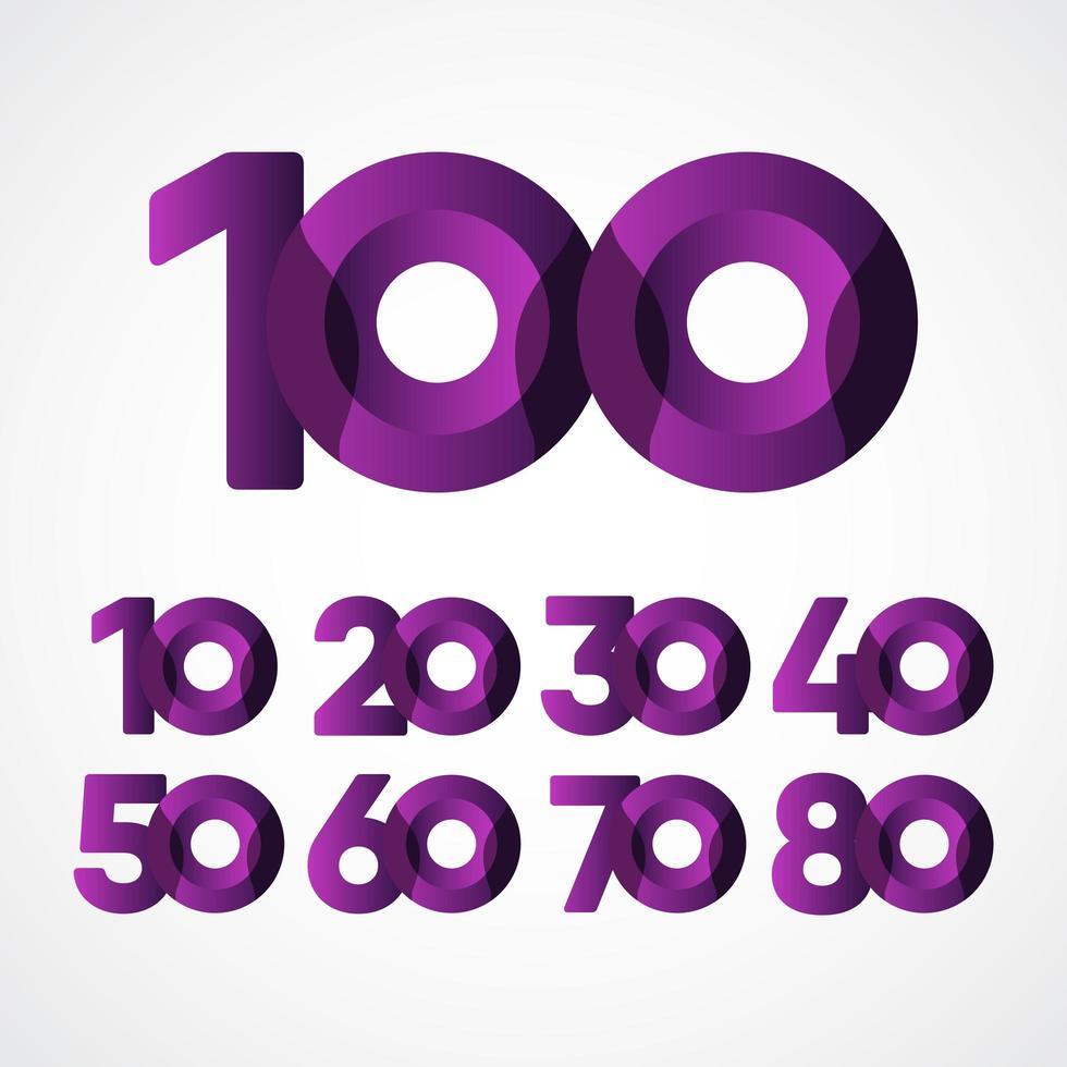 Ilustração em vetor roxo, comemorações de aniversário de 100 anos