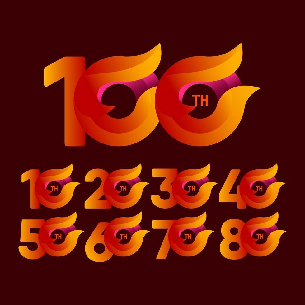 Ilustração em laranja das celebrações do 100º aniversário. vetor