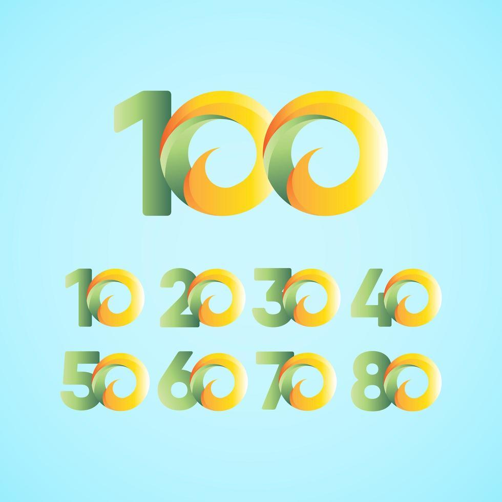 100 anos, comemorações de aniversário, amarelo, verde, modelo, design, ilustração vetor