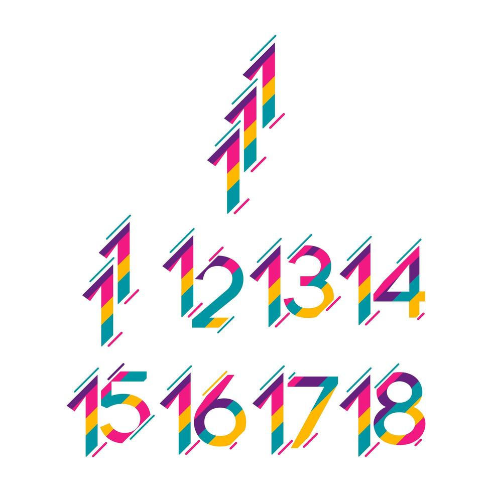 números do ano de aniversário, conjunto de cores vetor