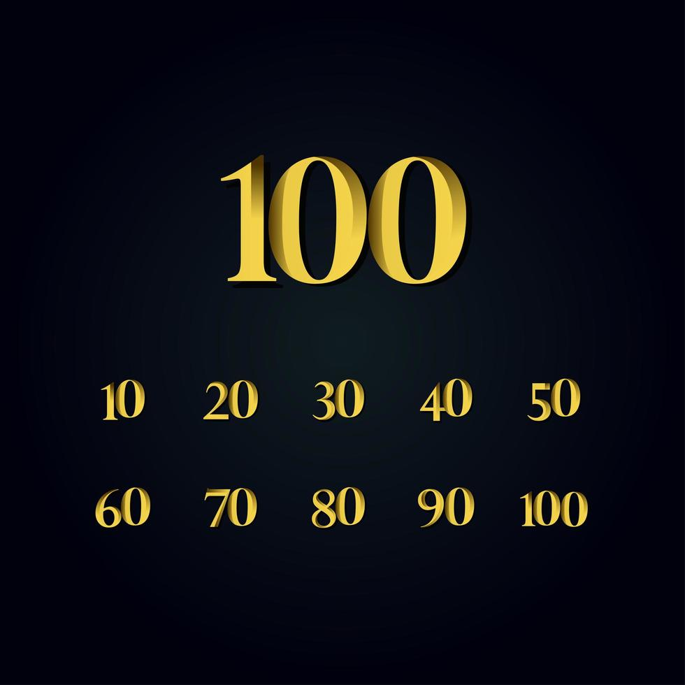 100 anos de aniversário ouro número ilustração vetorial modelo de design vetor