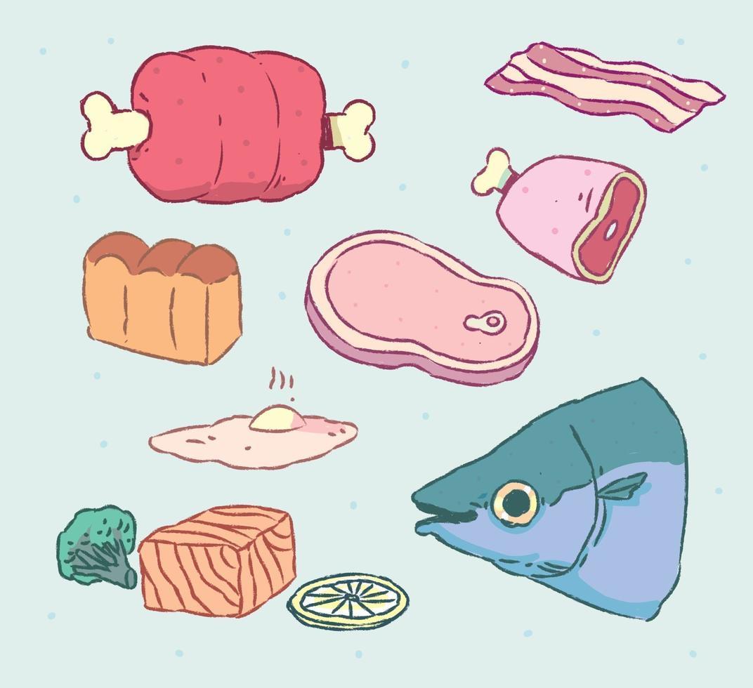ilustração em vetor carne estilo mão