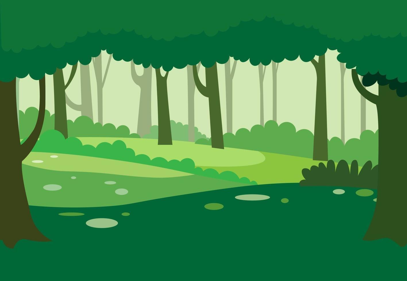 vetor de fundo verde floresta natural. paisagem natural com árvores. cena da natureza da selva.