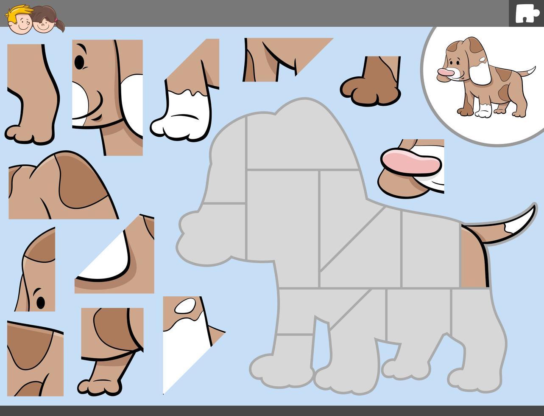 jogo de quebra-cabeça com personagem de cachorro fofo vetor