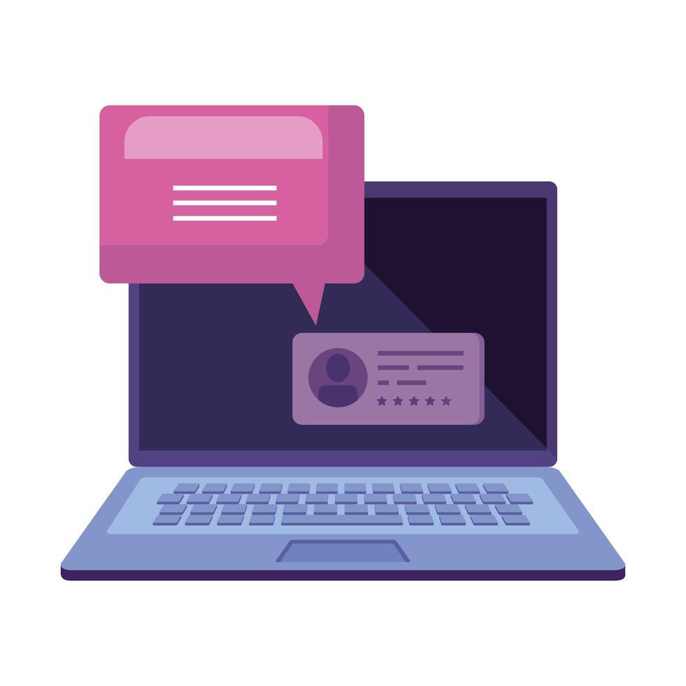 laptop para votação online com balão de fala vetor