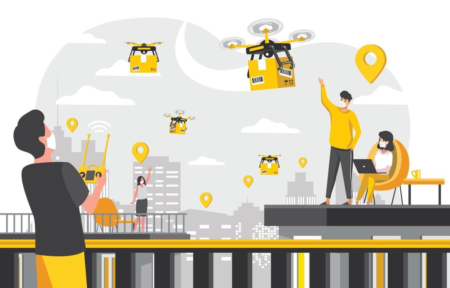entrega sem contato sem contato com conceito drone vetor