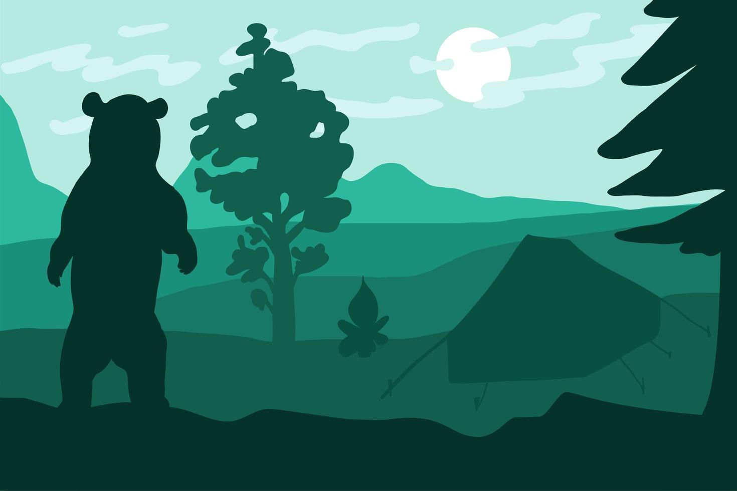 urso selvagem em pé acampando perto de floresta e montanhas vetor