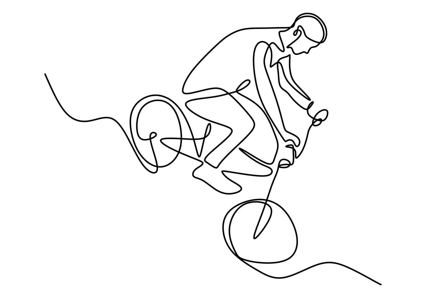 desenho de linha única contínua do jovem ciclista mostra truque extremamente arriscado de estilo livre. vetor