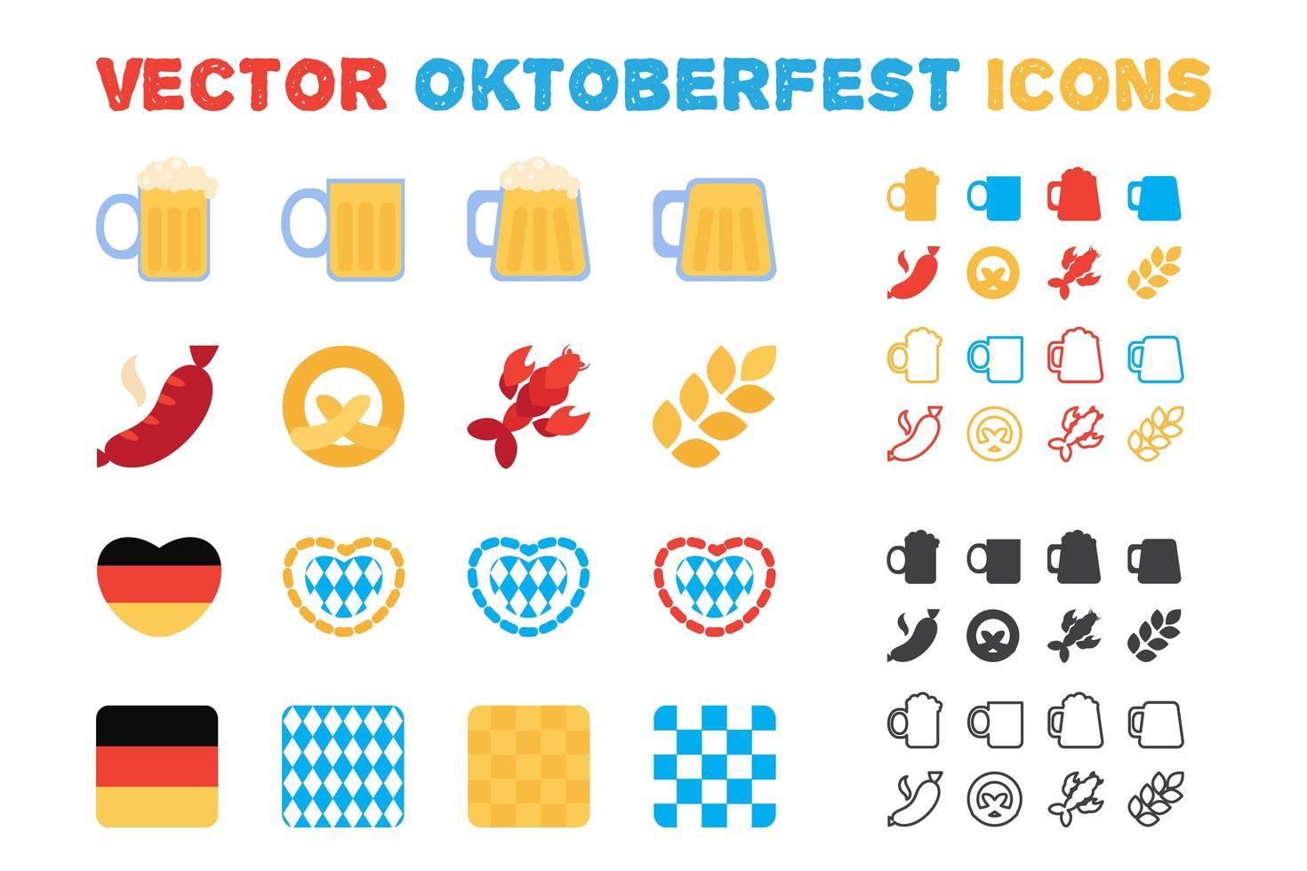 conjunto de ícones de oktoberfest e cerveja de vetor elegante