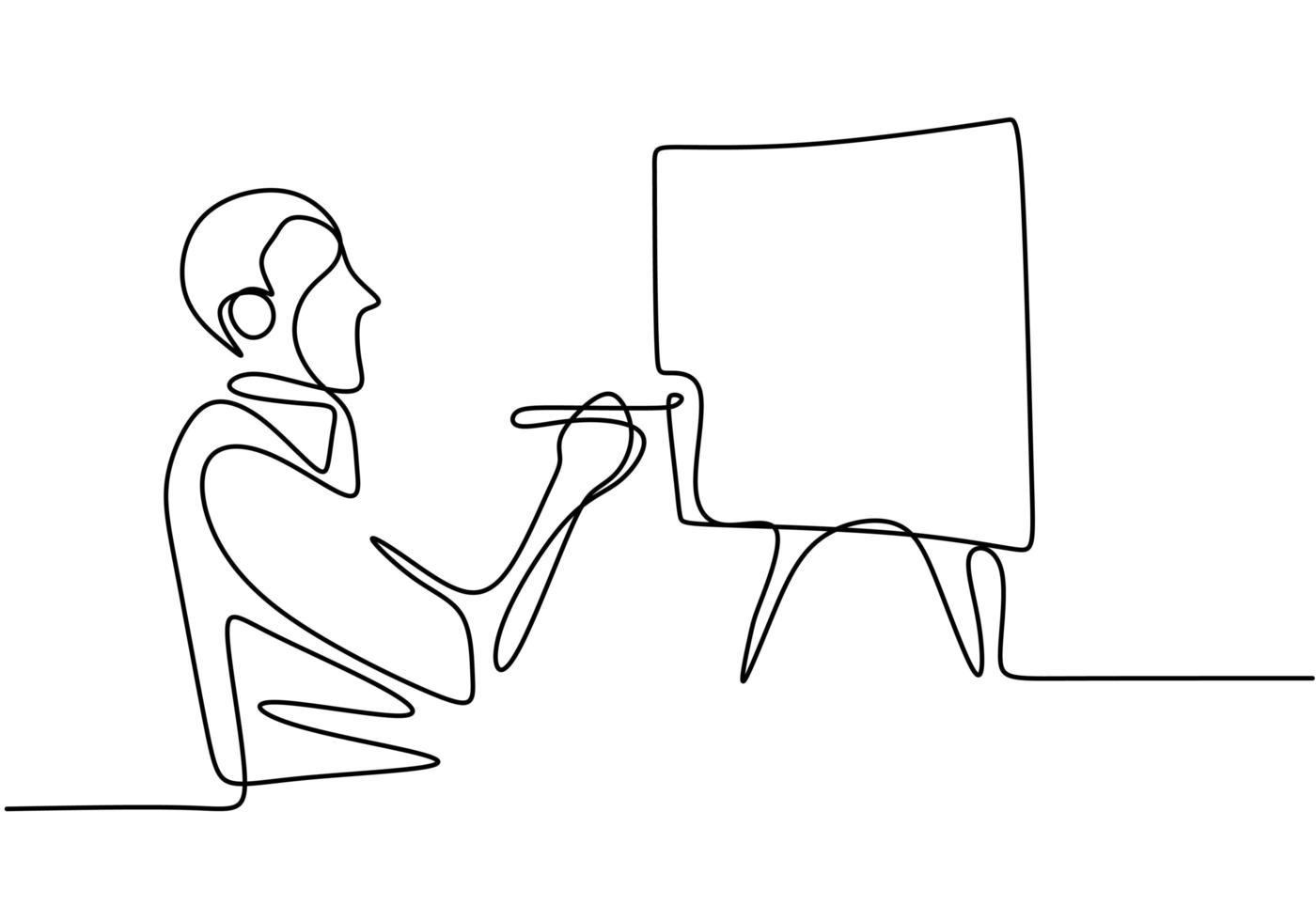 um homem pintando uma obra de arte na tela. pintor artista. arte em linha única contínua do pintor. vetor