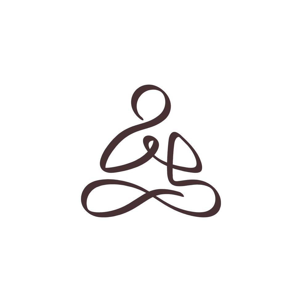 um desenho de meditação de linha. mão contínua esboço minimalismo desenhado pessoa fazendo ioga em posição de lótus vetor