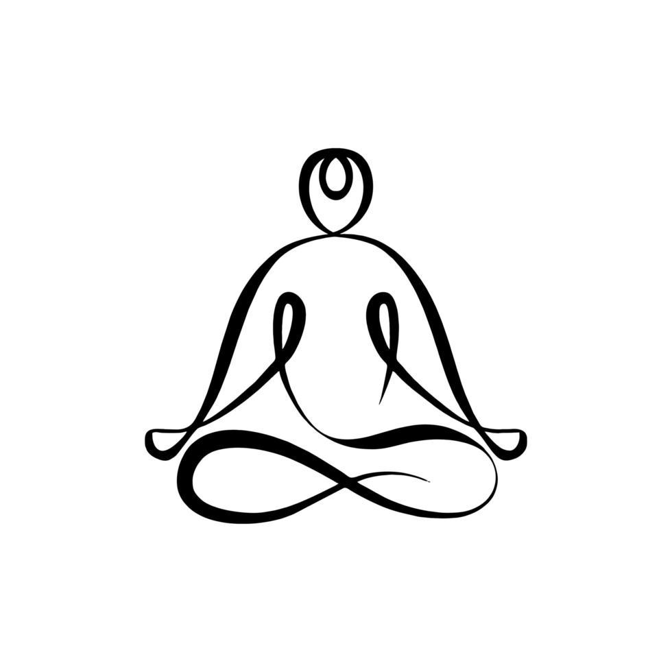 logotipo de meditação de desenho de linha contínua, posição de lótus abstrata. ilustração em vetor minimalismo esboço desenhado à mão