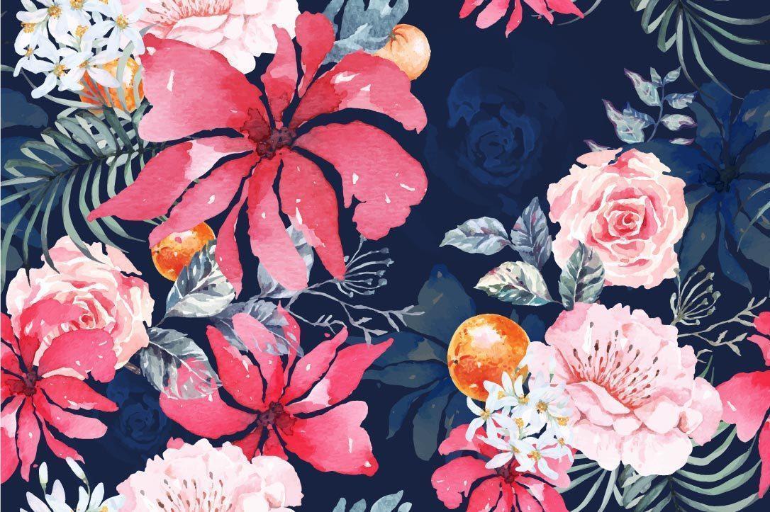 rosa padrão sem emenda com aquarela vetor