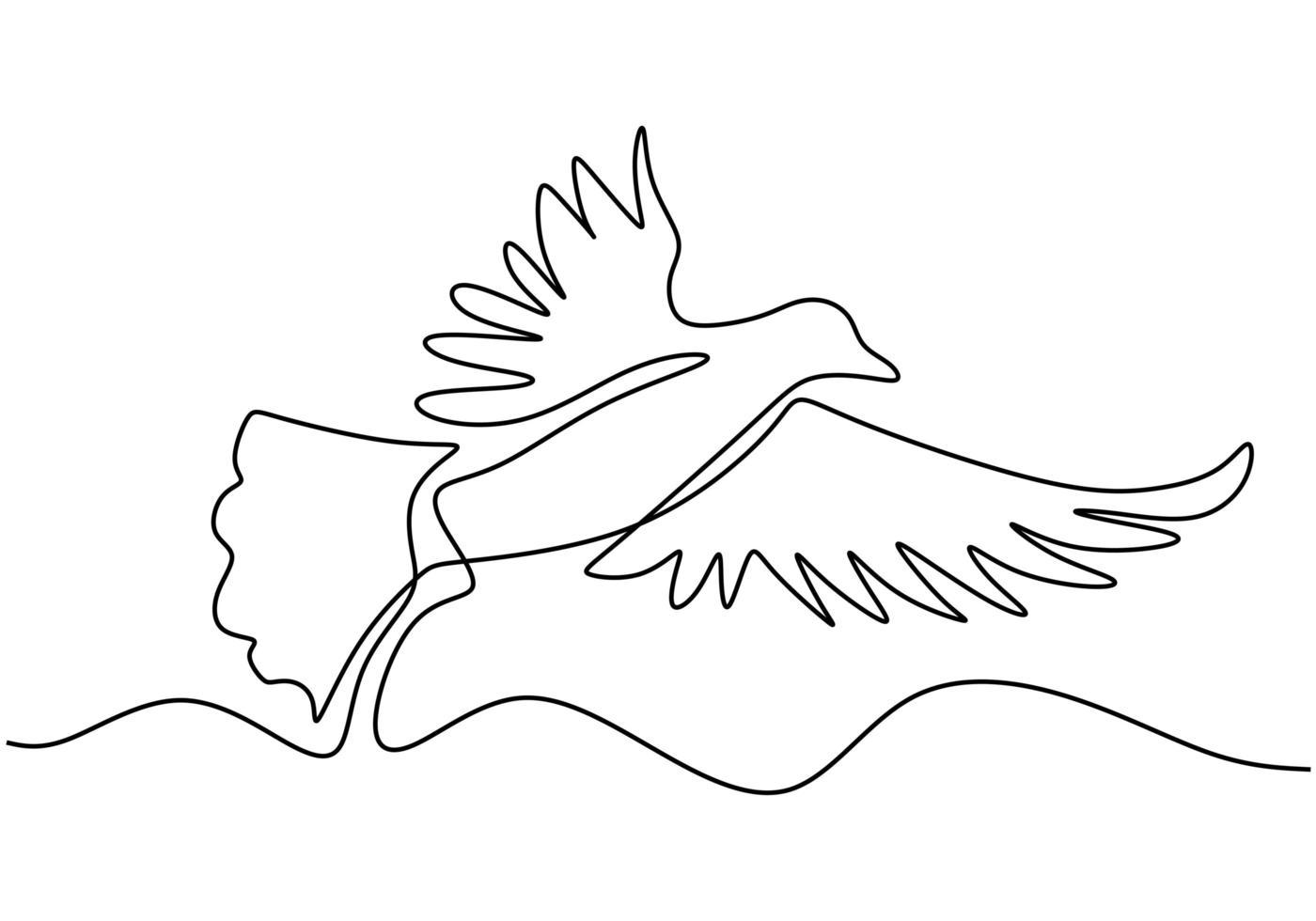 desenho de uma linha contínua. animal pombo voador. vetor