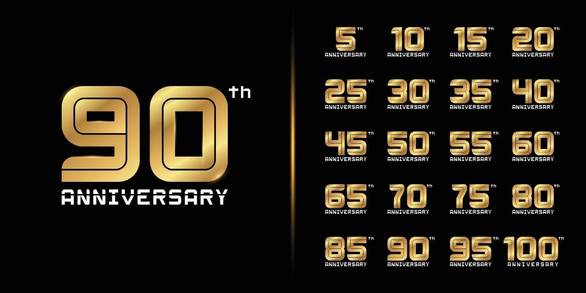 conjunto de logotipo de aniversário premium vetor