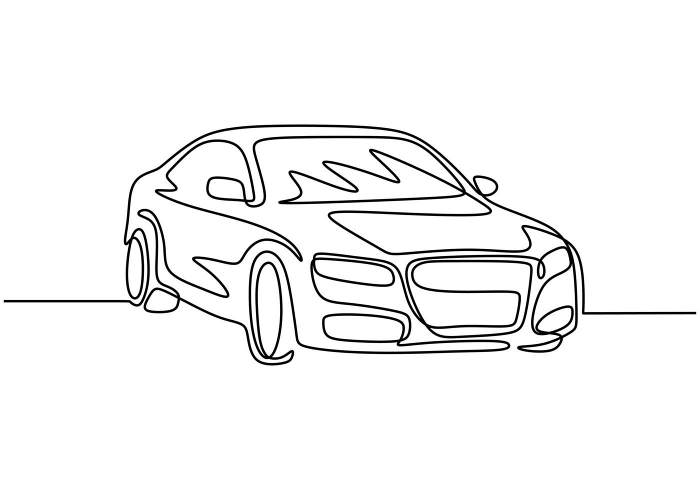 um desenho de linha do carro. veículo sedan, minimalismo de ilustração vetorial vetor