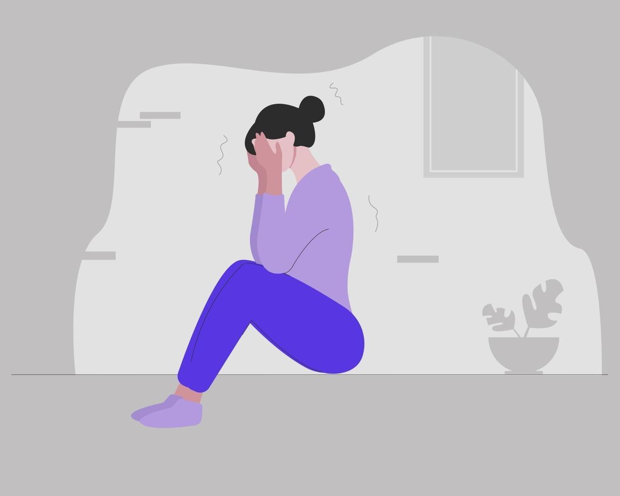 uma garota com transtorno de ansiedade vetor