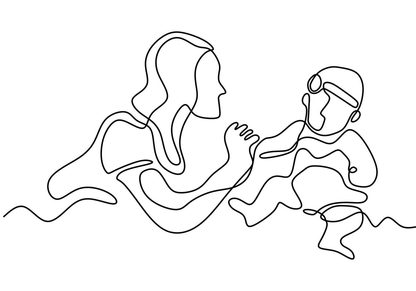 feliz Dia das Mães. desenho de uma linha contínua. mulher segura o bebê dela. dando a mão para a criança. vetor