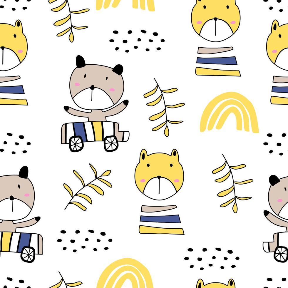 padrão sem emenda com gatinhos coloridos bonitos. ilustração de gatinho engraçado no estilo de desenho. fundo de animais dos desenhos animados. vetor