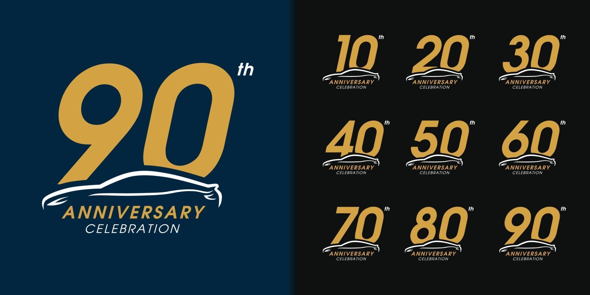 conjunto de logotipo de aniversário de carro de luxo vetor