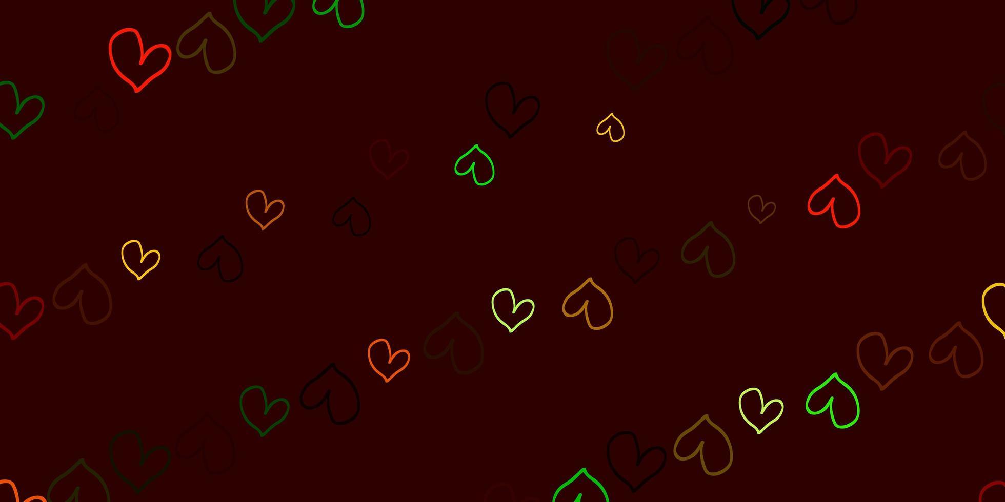 fundo escuro com corações multicoloridos vetor
